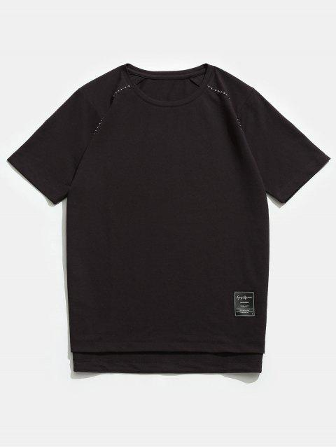 Rundhals Raglan Kurzen Ärmeln Shirt - Tiefkaffee 3XL Mobile