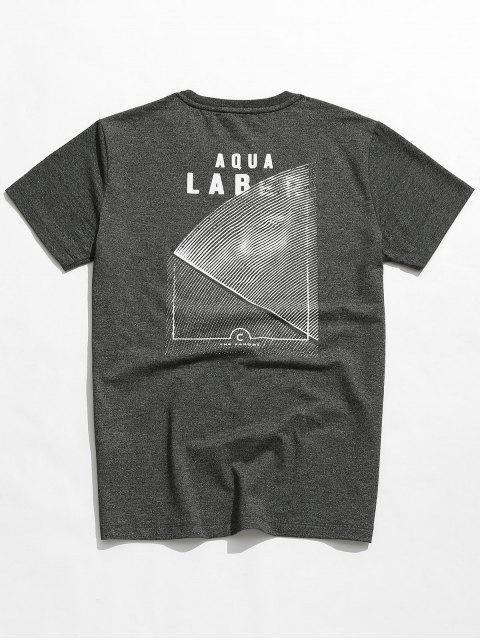 Tee-shirt brodé imprimé marbré - Gris 4XL Mobile