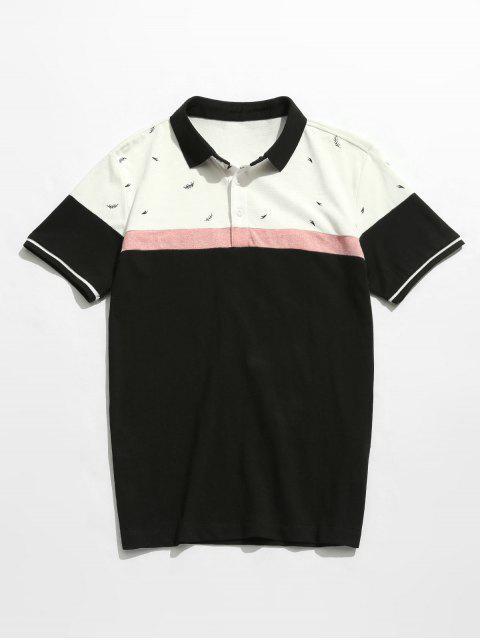 T-shirt en coton imprimé à blocs de couleur - Noir 4XL Mobile