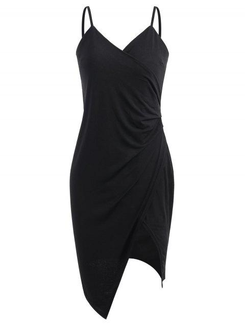 ladies Spaghetti Strap Ruched Asymmetric Bodycon Dress - BLACK XL Mobile