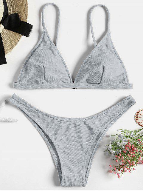 Ensemble Bikini Rembourré et Texturé - Bleu-gris M Mobile