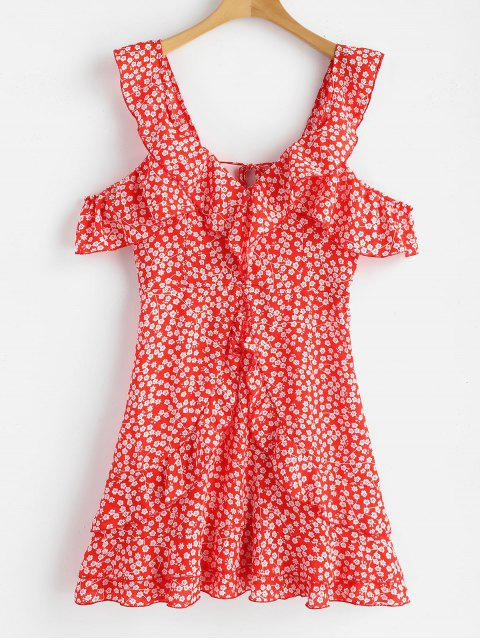 buy Floral Print Ruffles Backless Dress - RED L Mobile