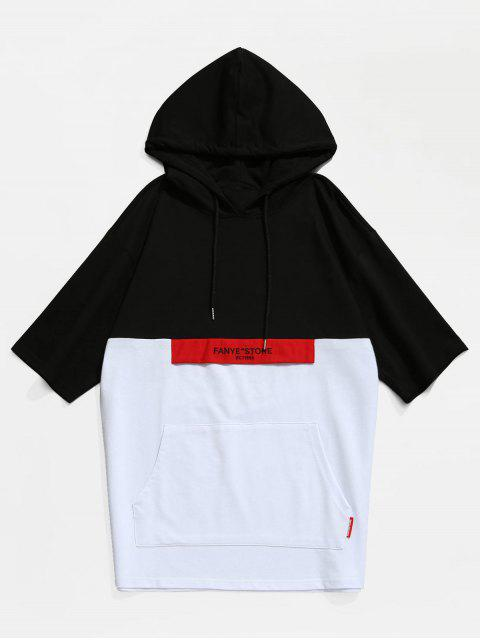 Color Block Kangaroo Pocket Hooded T-shirt - Negro XL Mobile