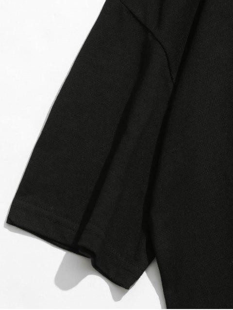 Camiseta con estampado de algodón con hombros caídos - Negro XL Mobile