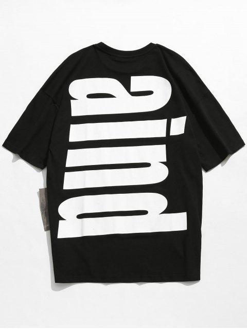 ladies Drop Shoulder Printed Cotton T-shirt - BLACK 2XL Mobile
