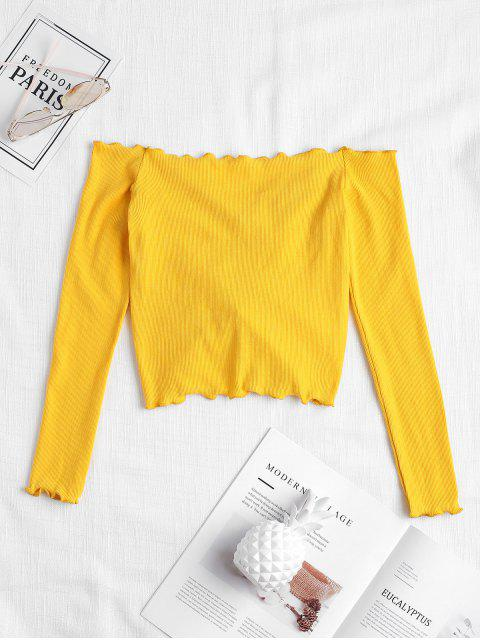 women's Gathered Off Shoulder Top - BRIGHT YELLOW S Mobile