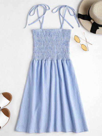 Tie Straps Striped Shirred Mini Dress - Sea Blue M
