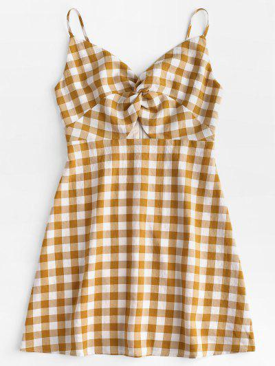 Twisted Plaid Cami Dress - Orange Gold L