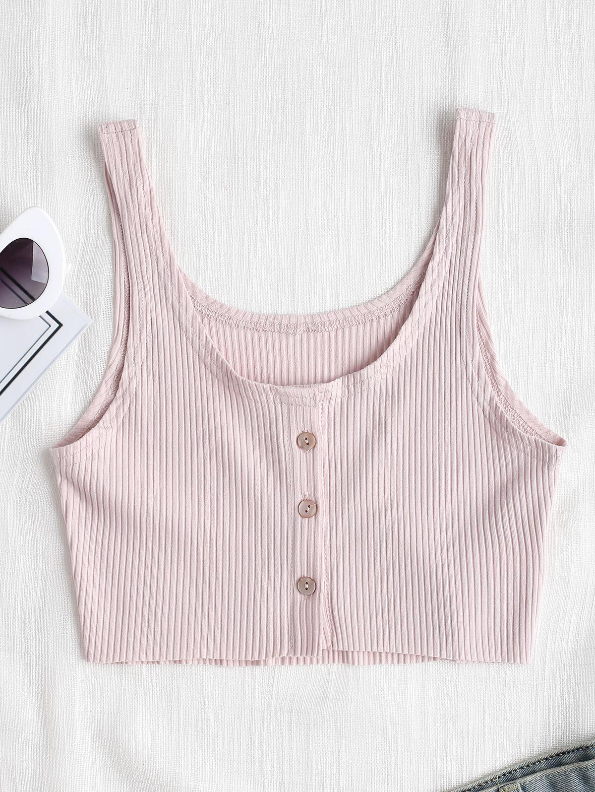 Button Up Ribbed Tank
