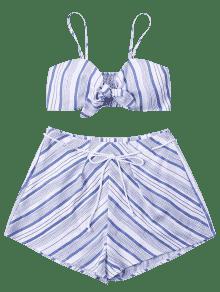 Cortos Claro Top Con De De Lazo Conjunto Azul M Y Pantalones Anverso Rayas 1qwgyE4P