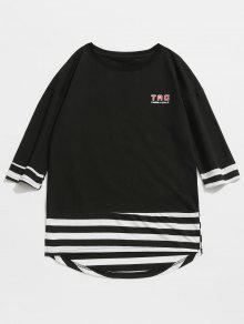 De Estampado A Letras Camiseta L Con Rayas Negro FzawFqIW