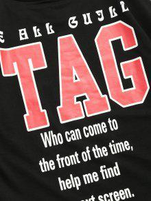 Letras Estampado Con L Rayas Negro De A Camiseta Aqa8x