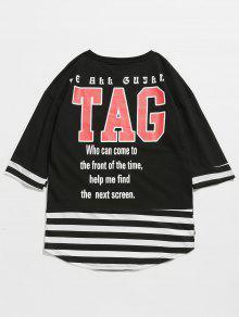 De Rayas A Camiseta Negro Estampado Letras L Con fOI7w5q