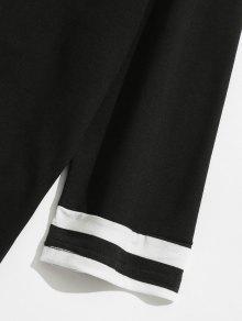 Rayas A Con De Estampado Letras Camiseta L Negro pvq5d