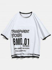 Raw Pattern Blanco T Hem shirt L Letter 4Rwp0qnq