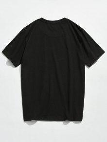 Estampada Cortas Mangas M Con Camiseta Negro UqH8wU