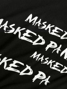 Cortas Negro Mangas Camiseta Estampada M Con TtxW1qz