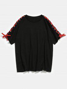Con Negro Estampada Camiseta M De Estampado Letras qxwH5BCT5