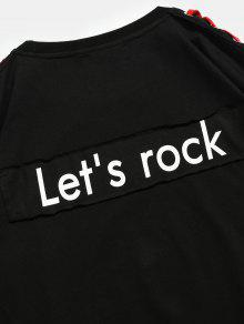 Letras Estampado Camiseta Negro Estampada M Con De IZxawqxA
