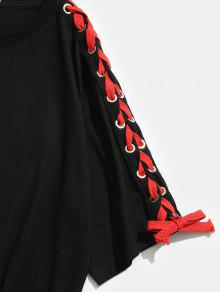 M Negro Estampada Estampado Camiseta Con De Letras fHx16O