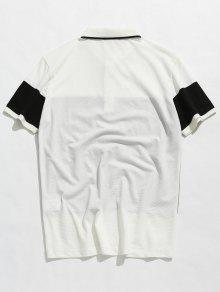 Blanco Corta Polo 2xl Camiseta De Colorblock Manga g8FzU