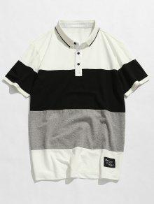 2xl Polo Camiseta De Colorblock Blanco Corta Manga gwYOx