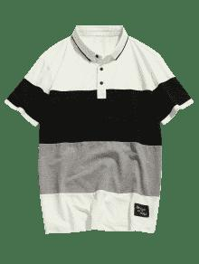 2xl Corta Colorblock Blanco Manga Polo De Camiseta q8IY7Y