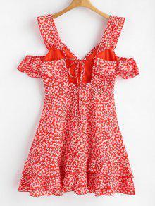 S Rojo Espalda Vestido Estampado Floral De Sin Volantes nBwp1Pvq