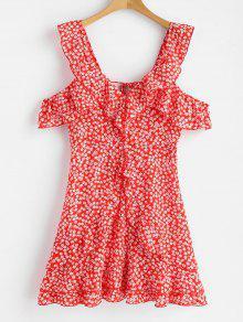 فستان عارية الظهر طباعة الأزهار كشكش - أحمر M