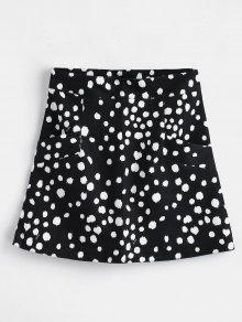تنورة مصغرة البولكا نقطة مع جيوب - أسود L