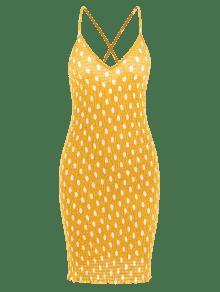 Lunares A Smocked Brillante Amarillo S Minivestido 8Oxwfw