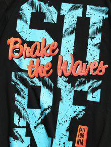 Estampada M De Negro Manga Camiseta Corta qFwtFg