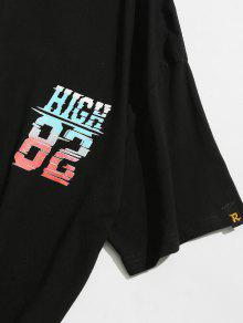 Camiseta Corta Estampada Negro Manga De M 6wa8B7q