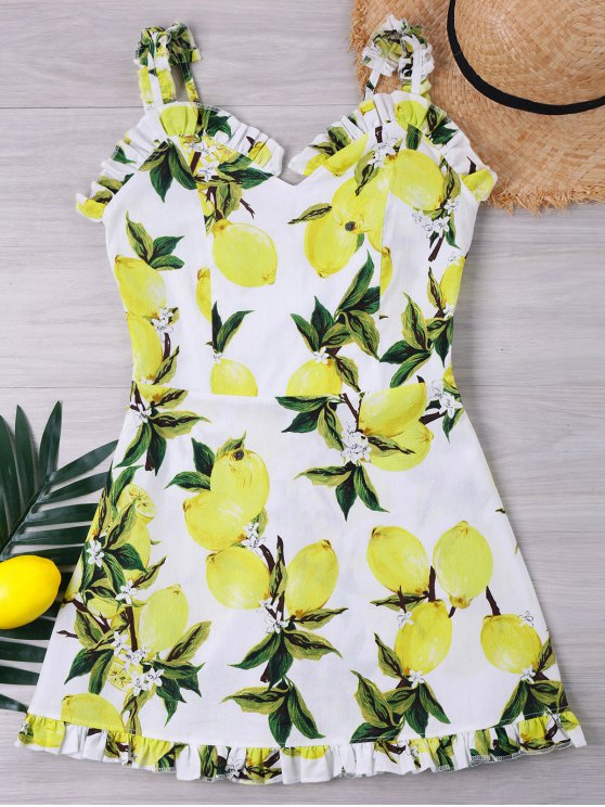 buy Back Shirred Lemon Print Dress - WHITE S