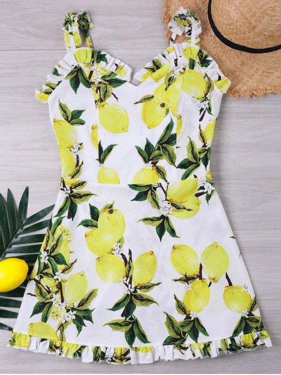 فستان طباعة الليمون كشكش - أبيض L