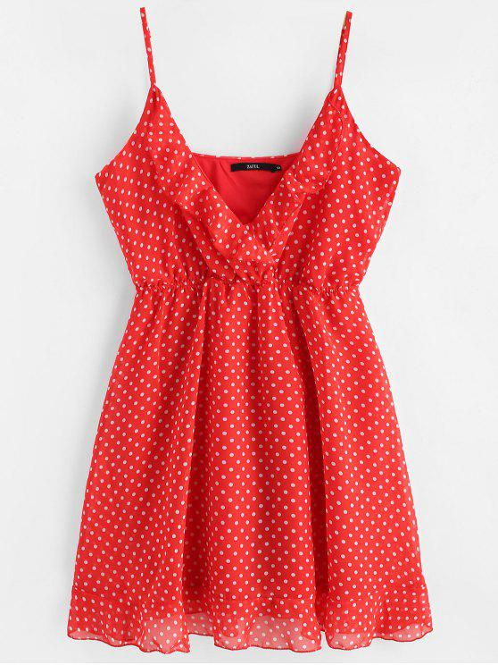 chic Polka Dot Mini Chiffon Slip Dress - RED M