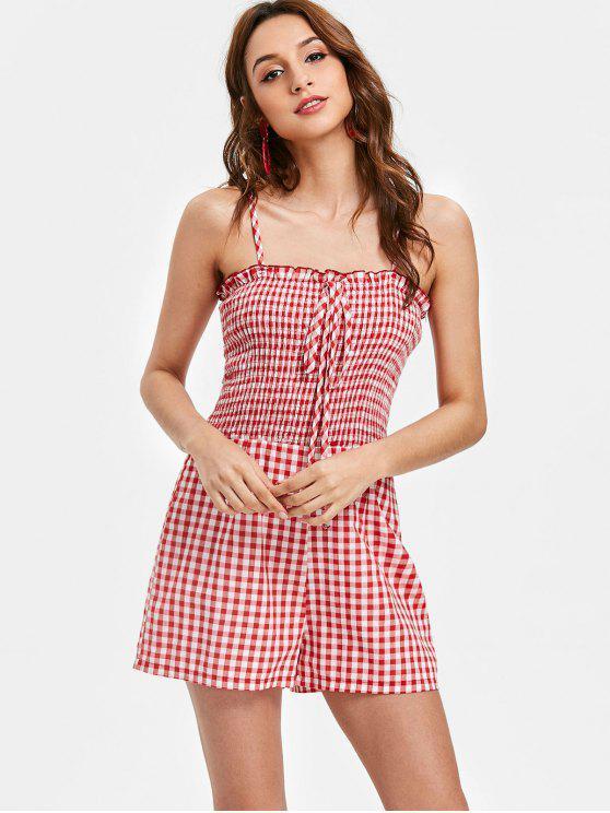 buy Gingham Print Smocked Cute Romper - LOVE RED L