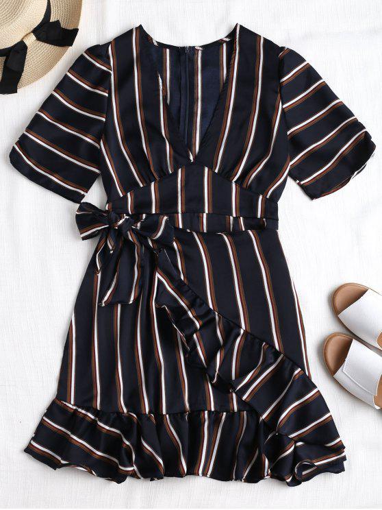 hot Back Zipper Striped Ruffles Mini Dress - DARK SLATE BLUE L