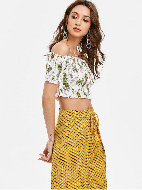 sale Off The Shoulder Floral Smocked Crop Top - WHITE XL