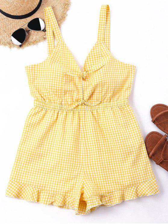 129dcae3f8e 24% OFF  2019 Self Tie Gingham Print Romper In BEE YELLOW