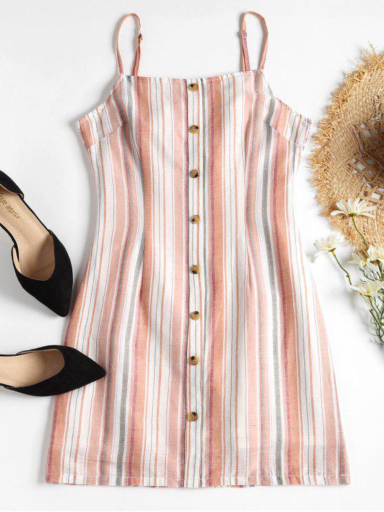 online Striped Open Back Cami Dress - LIGHT PINK M