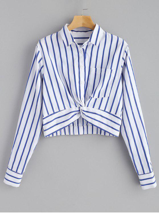 Camisa listrada da parte dianteira da torção - Azul Marinho L