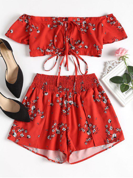 69299f7eaee05d 25% OFF  2019 Off Shoulder Floral Top And Shorts Set In RED