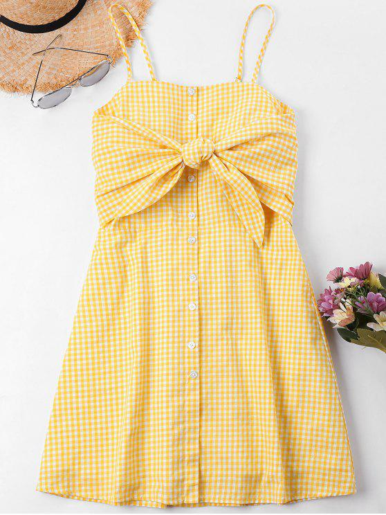 trendy Knot Gingham Cami Dress - BEE YELLOW XL