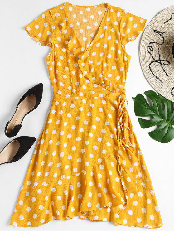 latest Ruffles Wrap Polka Dot Mini Dress - BRIGHT YELLOW S