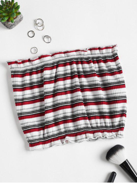 Ribbed Stripes Tube Top - Blanco XL