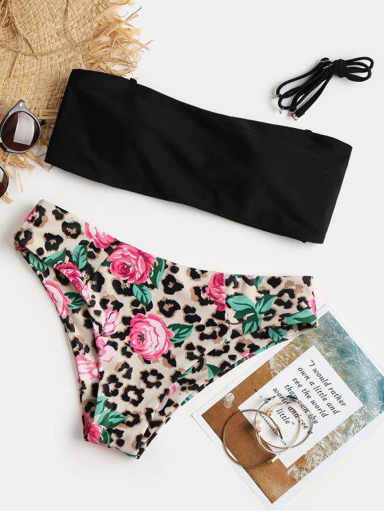 Bikini A Fascia Con Stampa Leopardata - Nero S