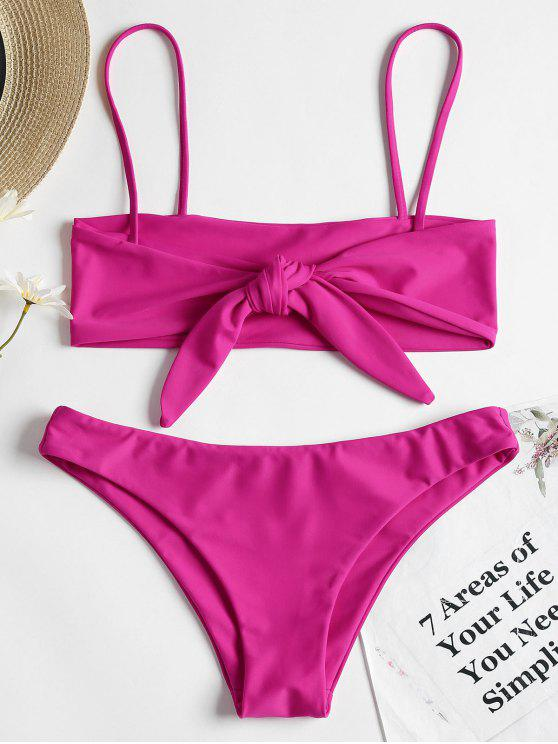 shops Reversible Bowtied Bralette Bikini Set - NEON PINK M