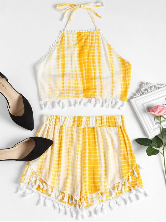 latest Tie Dyed Fringed Top and High Waisted Shorts Set - BRIGHT YELLOW L