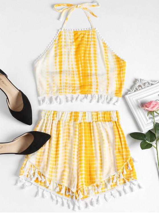 Conjunto de pantalones cortos de cintura alta con lazo teñido anudado - Amarillo Brillante L